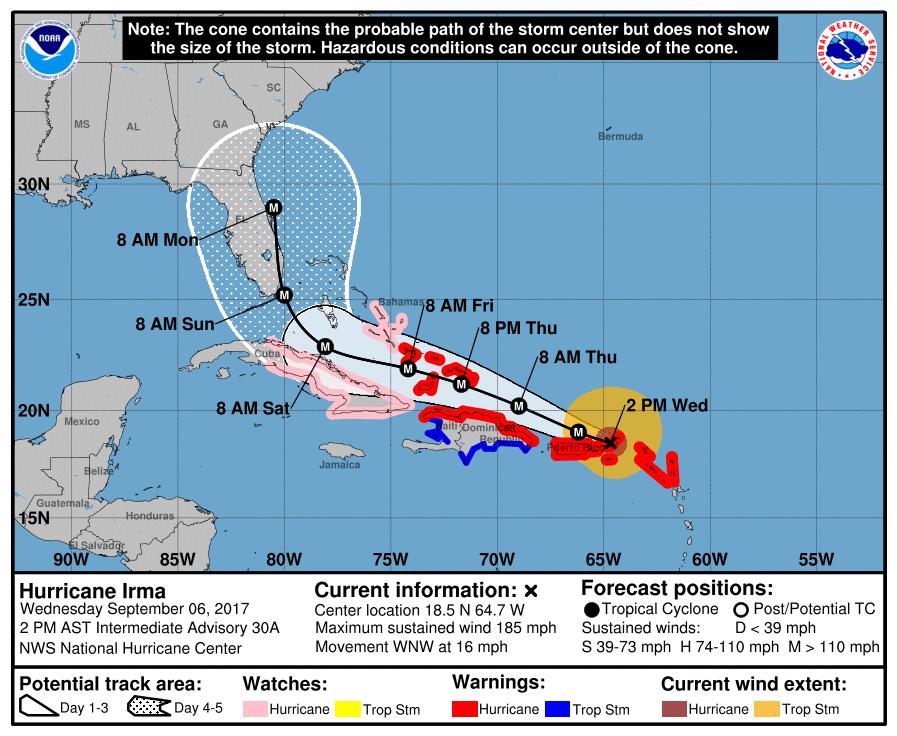 The forecast track of Hurricane irma, Wednesday Sept 6