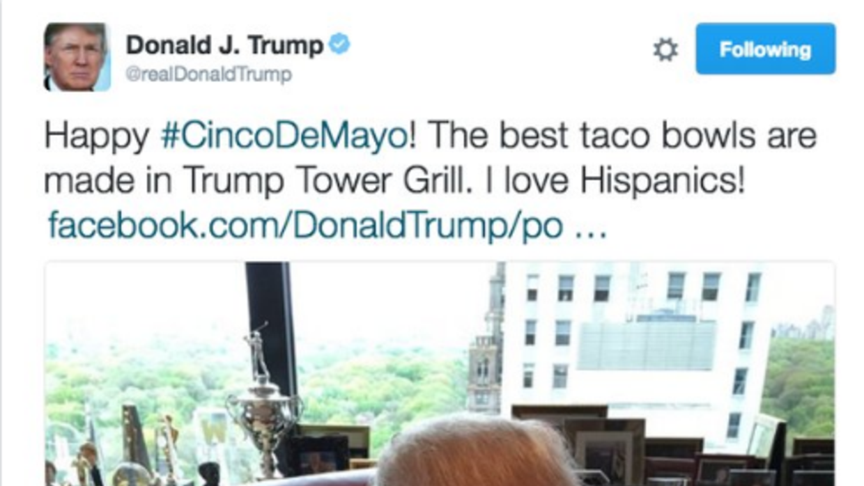 Donald Trump offered a Cinco de Mayo greeting on Twitter