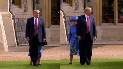 Trump se atrevió a hacer algo que ni el esposo de la reina tiene permitido: caminar delante de ella