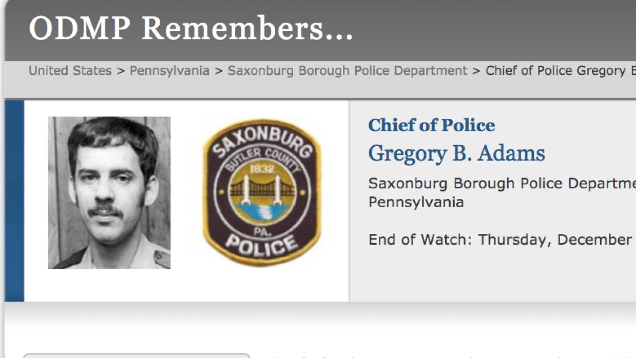 El policía fallecido, Gregory B. Adams. (ODMP)