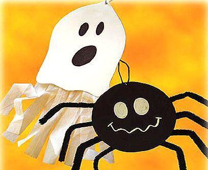 Arañas y fantasmas saltarines.Compra papel espumado de color negro. Cort...