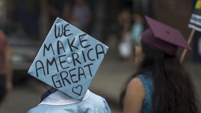 Un grupo de estudiantes dreamers de Columbia University, en Nueva York,...