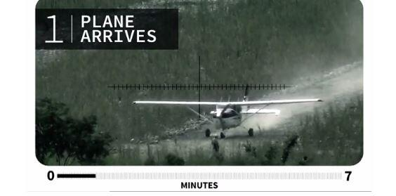 A drug plane landing in Peru to pick up a cargo of cocaine.