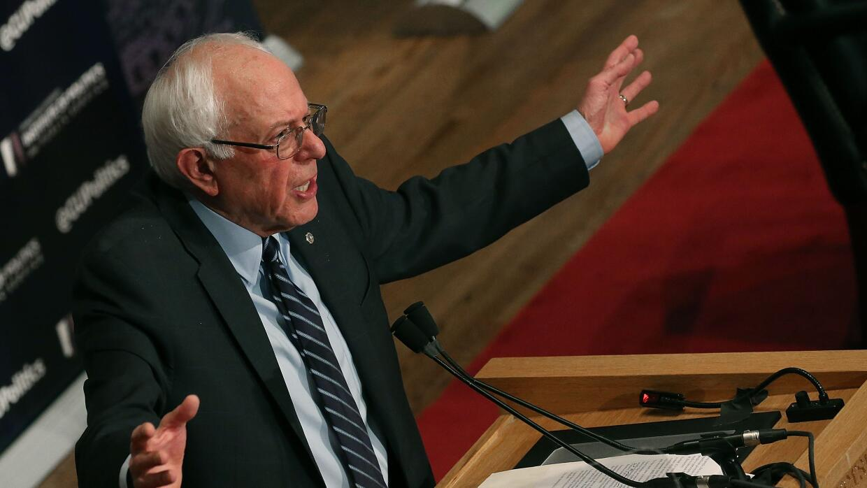 Bernie Sanders durante su discurso en la Universidad de Georgetown