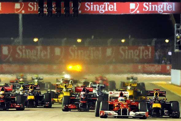 El piloto español de la Ferrari se aseguró de defender su primer puesto...