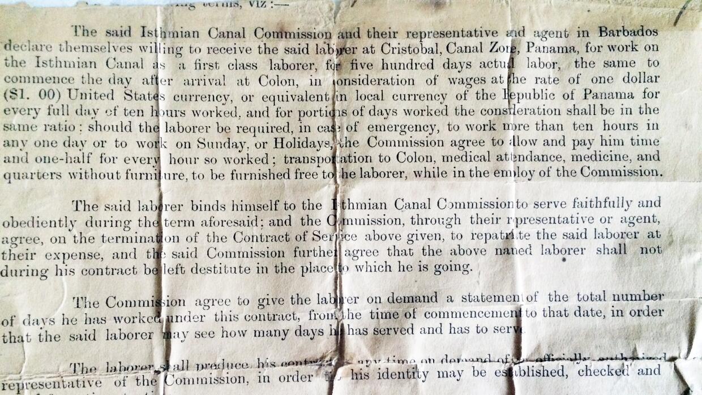 El contrato de trabajo que firmó Clemente Garnes, padre. Quinientos días...
