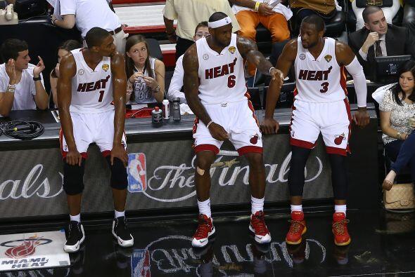 El trío estelar del Heat, LeBron James, Dwyane Wade y Chris Bosh...
