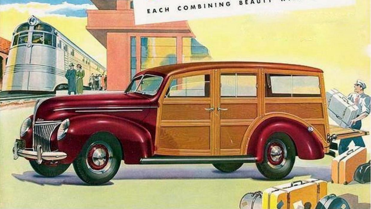 Este anuncio publicitario de Ford muestra a su Station Wagon V-8 1939 re...