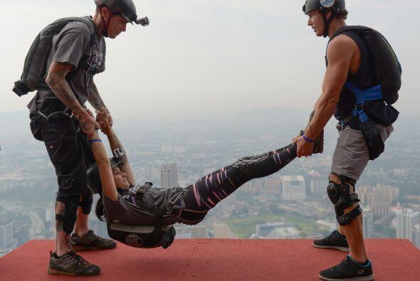 Los saltadores base Alex Borde de los EE.UU. y Jeff Weatherall de Nueva...