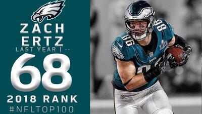 #68 Zach Ertz (TE, Eagles)   Top 100 Jugadores NFL 2018