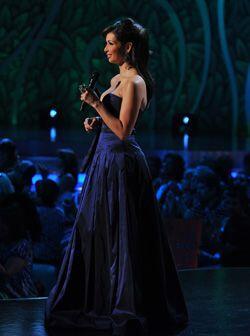 El vestido de noche que usó durante la tercera gala, fue todo un acierto.