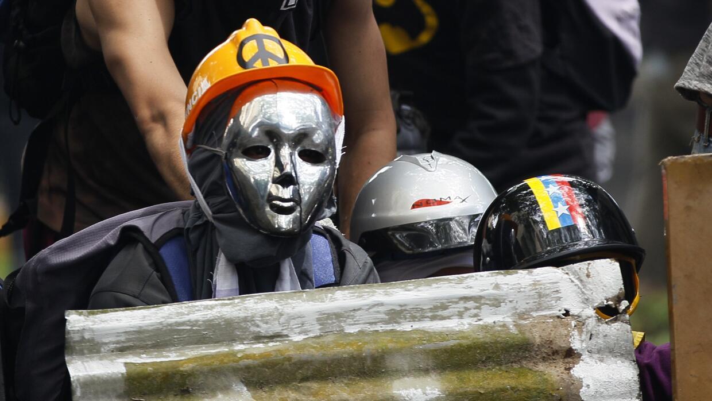 Masked demonstrators