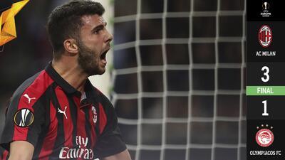 Con una remontada meteórica, el Milan venció al Olympiacos